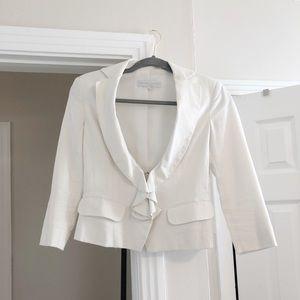 NEW YORK & COMPANY White Linen Ruffled Blazer